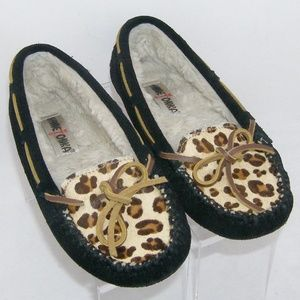 Minnetonka Cally leopard print suede bow loafers 6